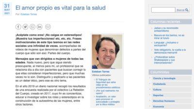 Columna de opinión sobre el amor propio del Doctor Esteban Torres en Cooperativa, Wam Center